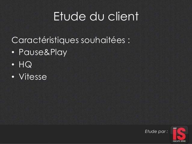 Etude du client  Caractéristiques souhaitées :  • Pause&Play  • HQ  • Vitesse  Etude par :