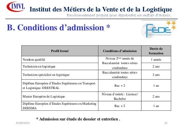 25/04/2013 10Institut des Métiers de la Vente et de la LogistiqueB. Conditions d'admission *Profil formé Conditions d'admi...