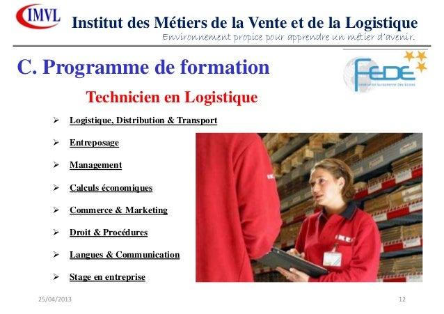 25/04/2013 12Institut des Métiers de la Vente et de la LogistiqueC. Programme de formationTechnicien en LogistiqueLogistiq...