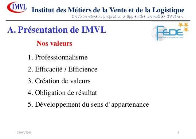 25/04/2013 5Institut des Métiers de la Vente et de la Logistique1. Professionnalisme2. Efficacité / Efficience3. Création ...