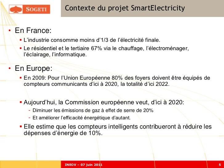 Contexte du projet SmartElectricity• En France:    L'industrie consomme moins d'1/3 de l'électricité finale.    Le résid...