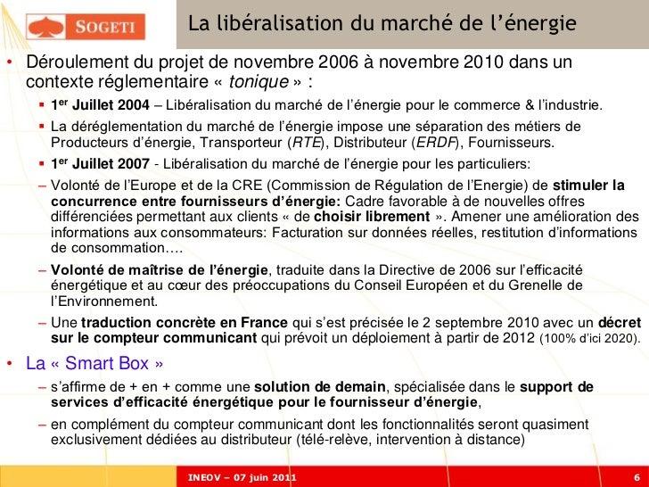 La libéralisation du marché de l'énergie• Déroulement du projet de novembre 2006 à novembre 2010 dans un  contexte régleme...