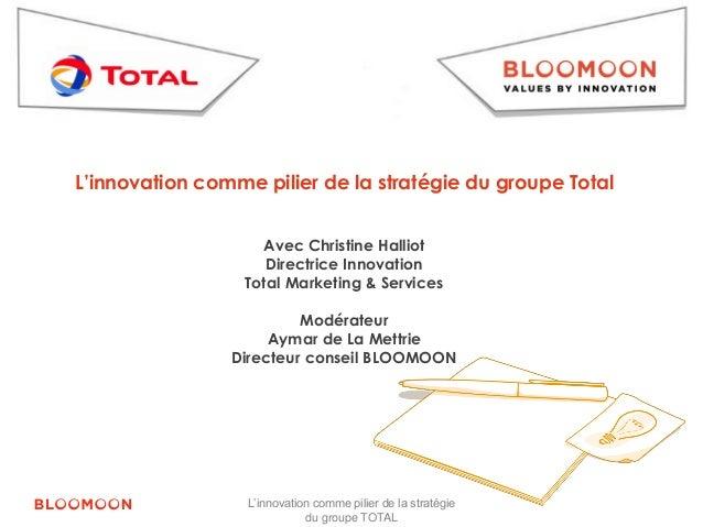 L'innovation comme pilier de la stratégie du groupe Total  Avec Christine Halliot  Directrice Innovation  Total Marketing ...