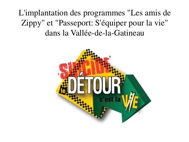 """L'implantation des programmes """"Les amis de Zippy"""" et """"Passeport: S'équiper pour la vie"""" dans la Vallée-de-la-Gatineau"""