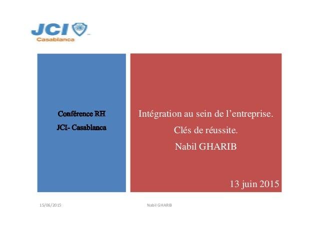 Intégration au sein de l'entreprise. Clés de réussite. Nabil GHARIB 13 juin 2015 Nabil GHARIB15/06/2015