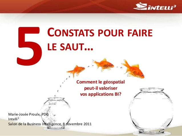 CONSTATS POUR FAIRE LE SAUT… Marie-Josée Proulx, PDG Intelli3 Salon de la Business Intelligence, 8 novembre 2011 Comment l...