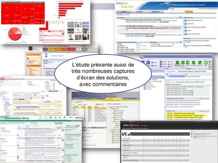 L'étude présente aussi de très nombreuses captures d'écran des solutions, avec commentaires<br />