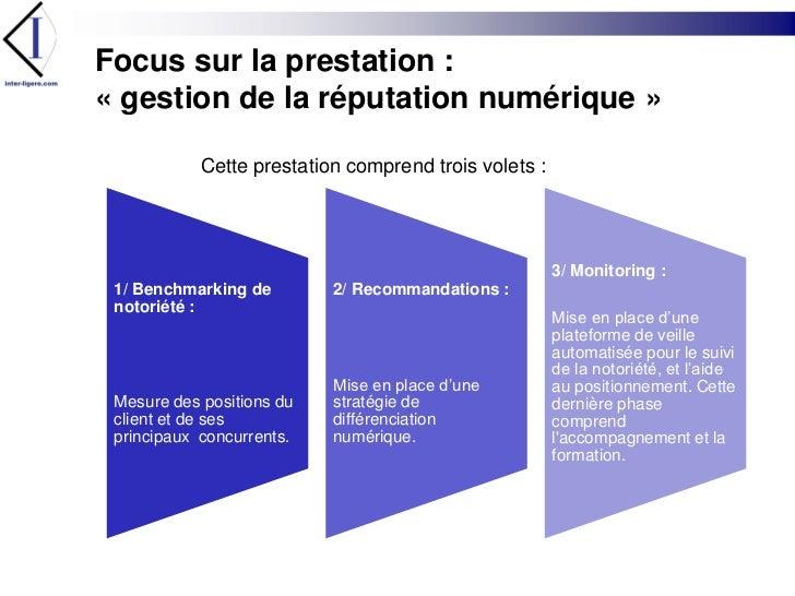 Focus sur la prestation :« gestion de la réputation numérique»<br />Cette prestation comprend trois volets :<br />