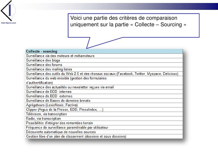 Voici une partie des critères de comparaison uniquement sur la partie «Collecte – Sourcing»<br />