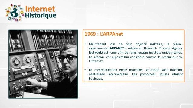 Internet Historique 1969 : L'ARPAnet • Maintenant loin de tout objectif militaire, le réseau expérimental ARPANET ( Advanc...