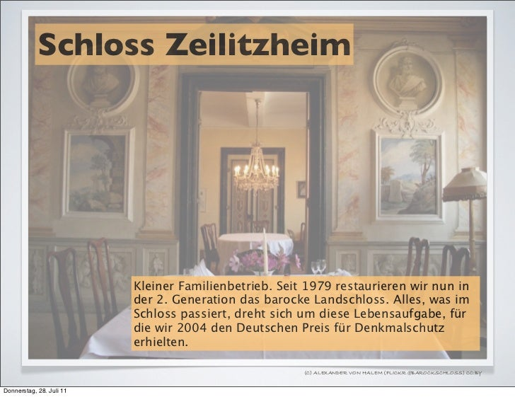 Schloss Zeilitzheim                          Kleiner Familienbetrieb. Seit 1979 restaurieren wir nun in                   ...