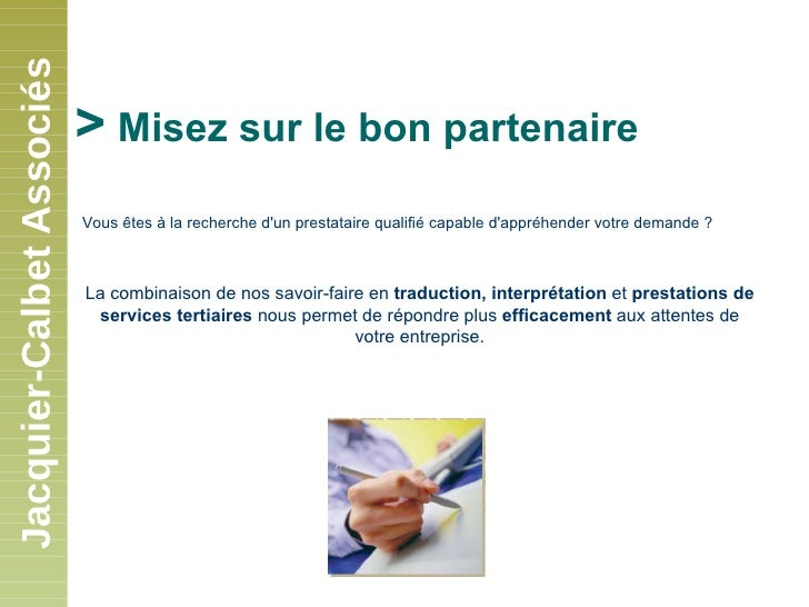 Présentation de Jacquier-Calbet Associés Slide 2