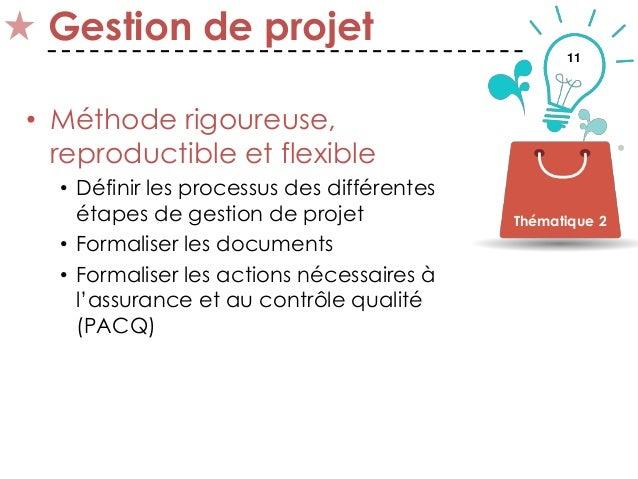 11 Gestion de projet • Méthode rigoureuse, reproductible et flexible • Définir les processus des différentes étapes de ges...