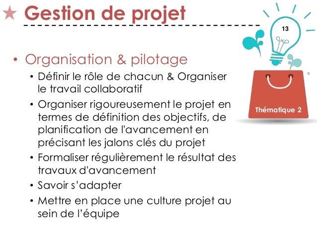 13 Gestion de projet • Organisation & pilotage • Définir le rôle de chacun & Organiser le travail collaboratif • Organiser...