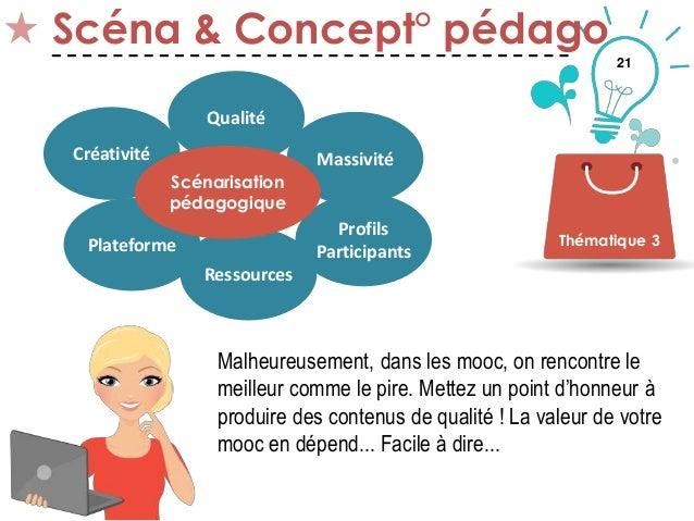 21 Scéna & Concept° pédago Thématique 3 Créativité Qualité Plateforme Ressources Profils Participants Massivité Scénarisat...