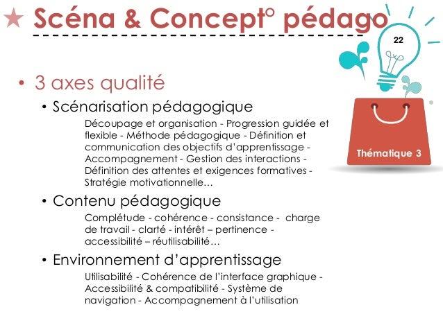 22 Scéna & Concept° pédago • 3 axes qualité • Scénarisation pédagogique Découpage et organisation - Progression guidée et ...