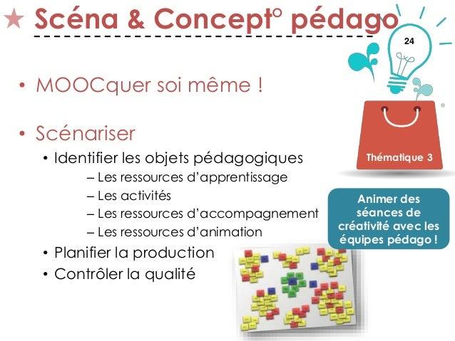 24 Scéna & Concept° pédago • MOOCquer soi même ! • Scénariser • Identifier les objets pédagogiques – Les ressources d'appr...