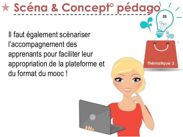 25 Scéna & Concept° pédago Thématique 3 Il faut également scénariser l'accompagnement des apprenants pour faciliter leur a...