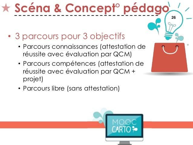 26 Scéna & Concept° pédago • 3 parcours pour 3 objectifs • Parcours connaissances (attestation de réussite avec évaluation...