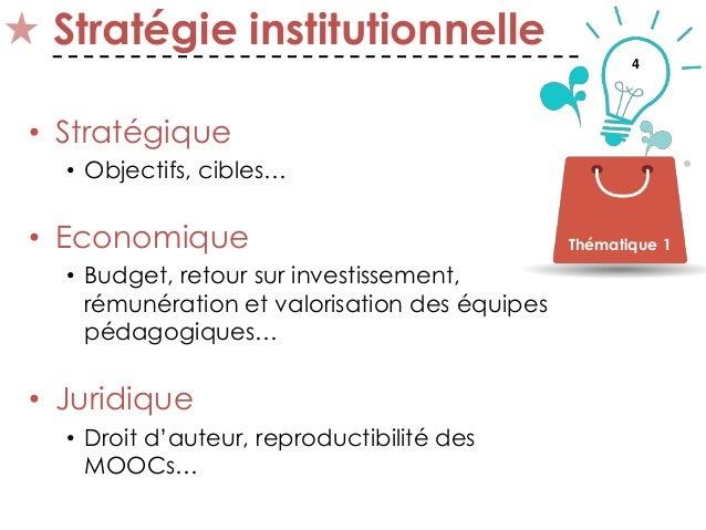 4 Stratégie institutionnelle • Stratégique • Objectifs, cibles… • Economique • Budget, retour sur investissement, rémunéra...