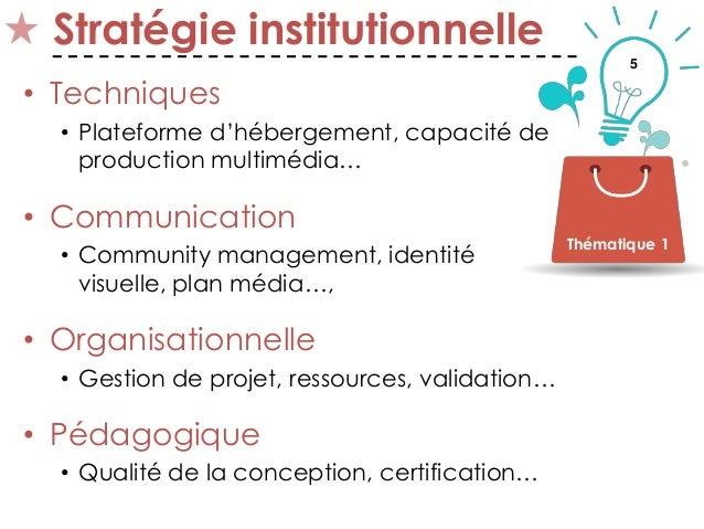5 Stratégie institutionnelle • Techniques • Plateforme d'hébergement, capacité de production multimédia… • Communication •...