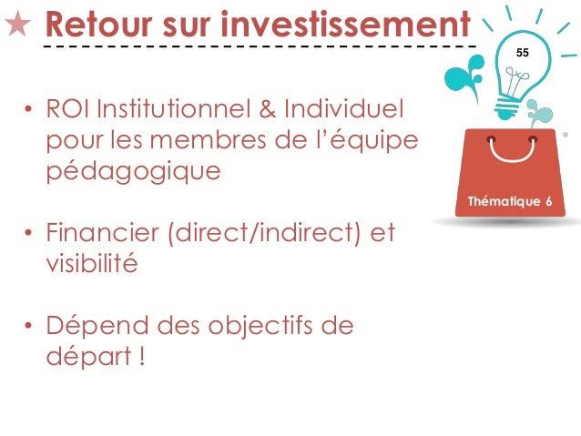 55 Retour sur investissement • ROI Institutionnel & Individuel pour les membres de l'équipe pédagogique • Financier (direc...