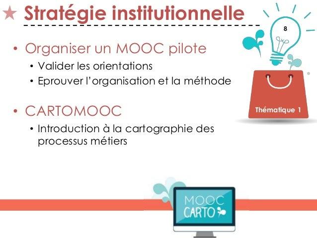 8 Stratégie institutionnelle • Organiser un MOOC pilote • Valider les orientations • Eprouver l'organisation et la méthode...
