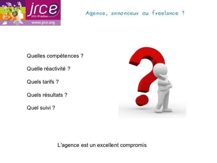 Agence, annonceur ou freelance?Quelles compétences ?Quelle réactivité ?Quels tarifs ?Quels résultats ?Quel suivi ?       ...