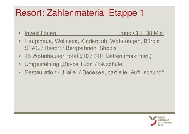 Resort: Zahlenmaterial Etappe 1 • Investitionen rund CHF 38 Mio. • Haupthaus, Wellness, Kinderclub, Wohnungen, Büro's STAG...