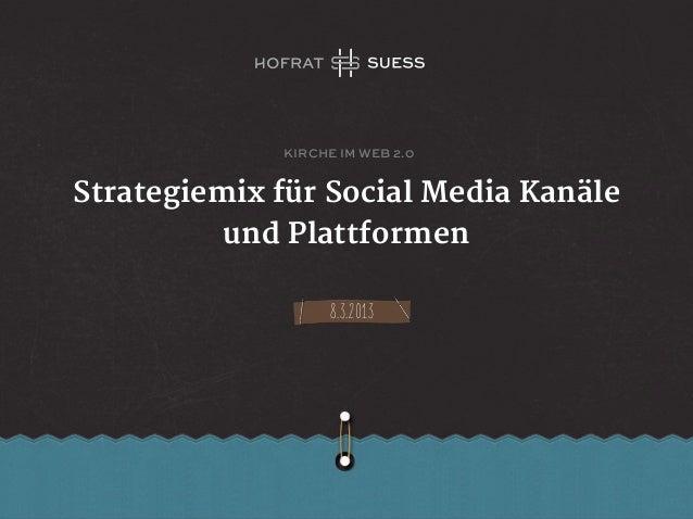 kirche im web 2.0Strategiemix für Social Media Kanäle          und Plattformen                   8.3.2013