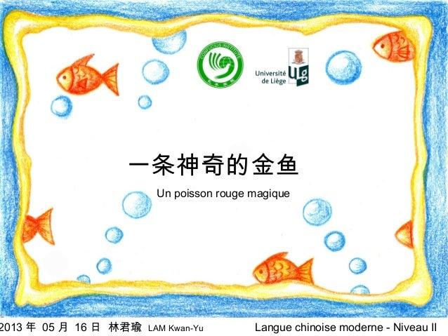 一条神奇的金鱼  2013 年 05 月 16 日 林君瑜  Un poisson rouge magique  LAM Kwan-Yu  Langue chinoise moderne - Niveau II