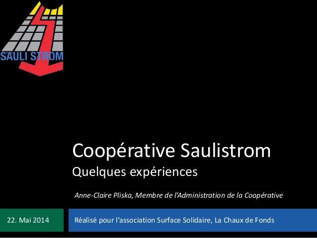 Coopérative Saulistrom Quelques expériences Réalisé pour l'association Surface Solidaire, La Chaux de Fonds22. Mai 2014 An...