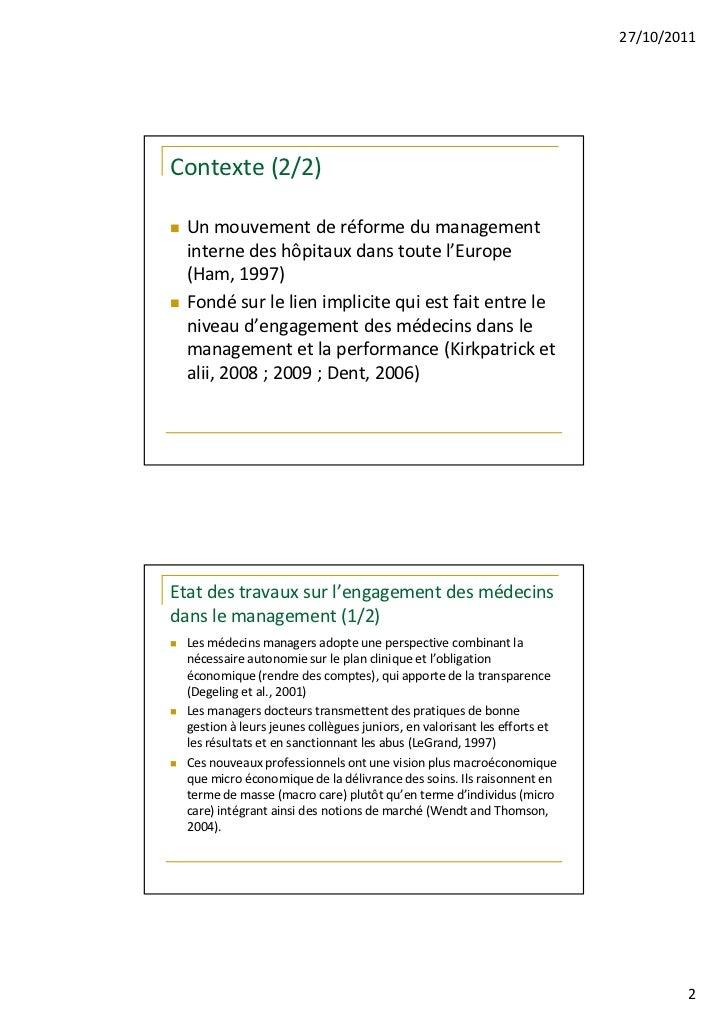 Exploration des pôles : terra nova du management hospitalier ? Slide 2