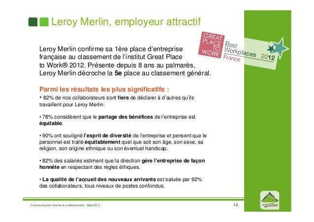 Pr sentation leroy merlin france mai 2012 - Cours de bricolage leroy merlin ...