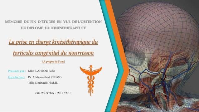 MÉMOIRE DE FIN D'ÉTUDES EN VUE DE L'OBTENTION DU DIPLOME DE KINÉSITHERAPEUTE La prise en charge kinésithérapique du tortic...