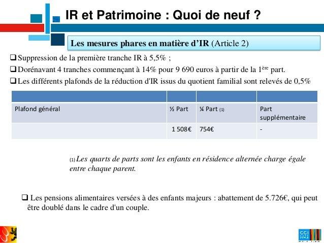 Pr sentation de la loi de finance 2015 - Plafond quotient familial ...