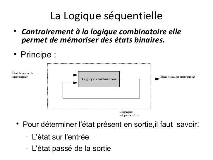 La Logique séquentielle • Contrairement à la logique combinatoire elle   permet de mémoriser des états binaires. ●      Pr...