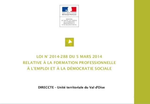 1 LOI DU 5 MARS 2014 – Formation professionnelle 11 DIRECCTE – Unité territoriale du Val d'Oise LOI N° 2014-288 DU 5 MARS ...