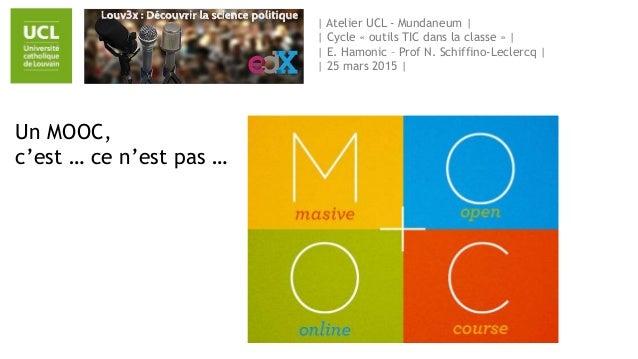 | Atelier UCL - Mundaneum | | Cycle « outils TIC dans la classe » | | E. Hamonic – Prof N. Schiffino-Leclercq | | 25 mars ...