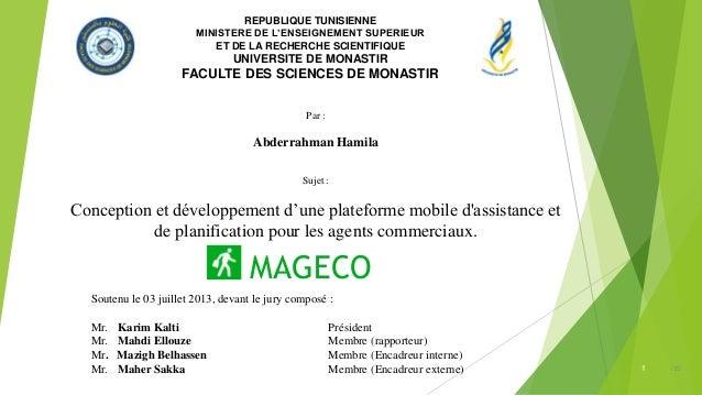 REPUBLIQUE TUNISIENNE MINISTERE DE L'ENSEIGNEMENT SUPERIEUR ET DE LA RECHERCHE SCIENTIFIQUE UNIVERSITE DE MONASTIR FACULTE...