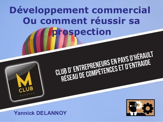 Page 1 Développement commercial Ou comment réussir sa prospection Yannick DELANNOY
