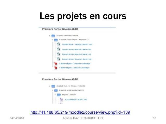 Les projets en cours 04/04/2016 Martine RAVETTO-DUBREUCQ 18 http://41.188.65.219/moodle2/course/view.php?id=139