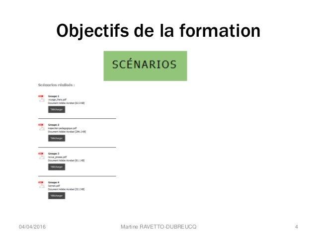 Objectifs de la formation Martine RAVETTO-DUBREUCQ 404/04/2016
