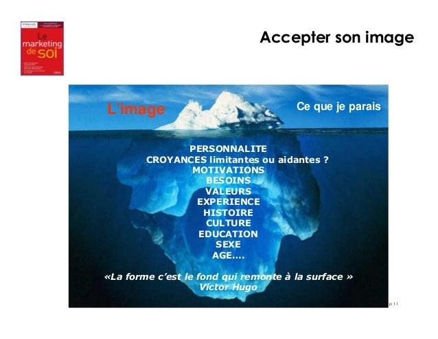 p 11  L'image Ce que je parais  PERSONNALITE  CROYANCES limitantes ou aidantes ?  MOTIVATIONS  BESOINS  VALEURS  EXPERIENC...