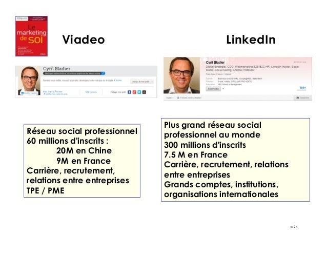 p 24  Viadeo LinkedIn  Réseau social professionnel  60 millions d'inscrits :  20M en Chine  9M en France  Carrière, recrut...