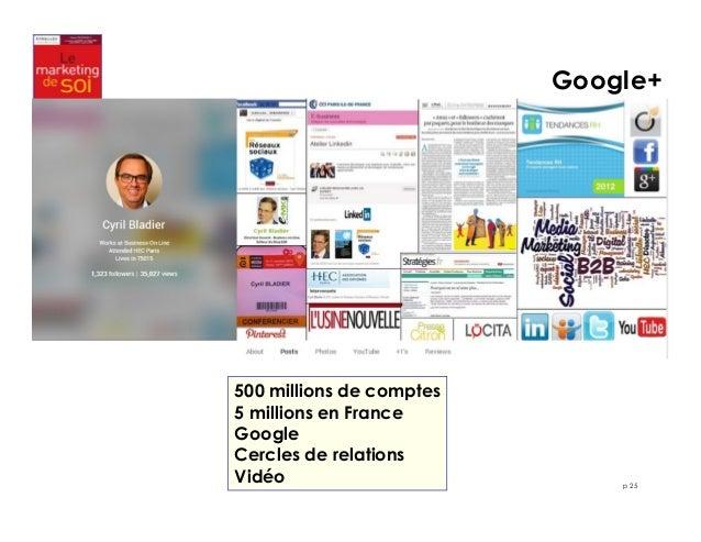 Google+  p 25  500 millions de comptes  5 millions en France  Google  Cercles de relations  Vidéo