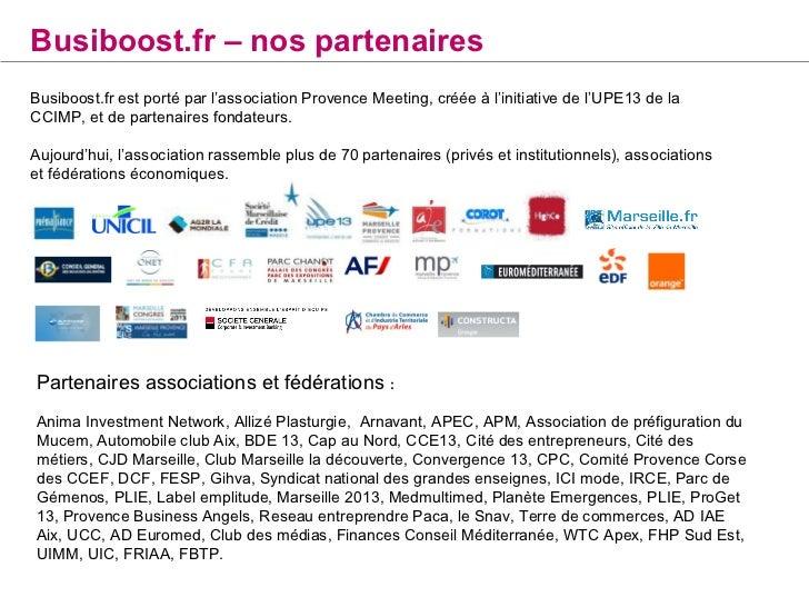 Busiboost.fr - nos prestatairesDéveloppement : Agence High coHébergement : GandiMaintenance et Surveillance serveur : Evol...