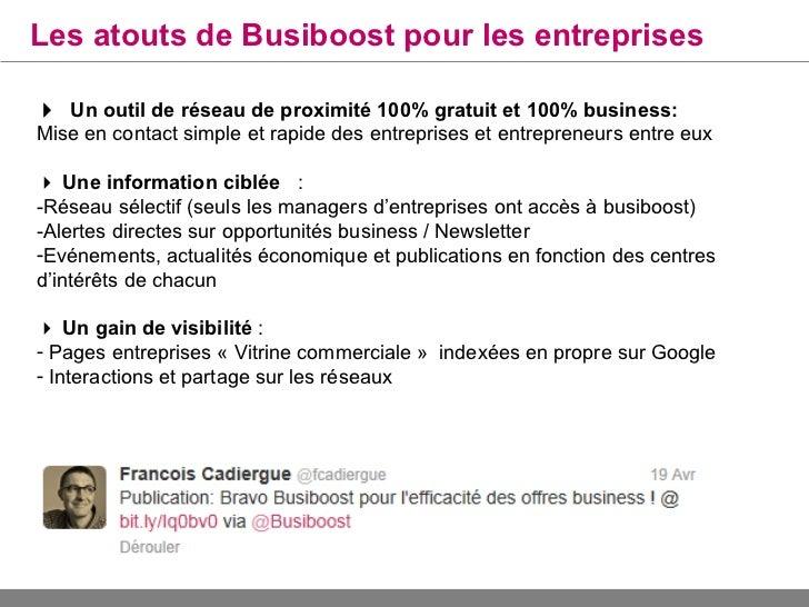Les atouts de Busiboost pour votre MedefOutil de maillage territorial:Permet aux entreprises de votre territoire de se ren...
