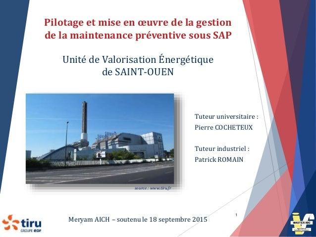 Pilotage et mise en œuvre de la gestion de la maintenance préventive sous SAP Unité de Valorisation Énergétique de SAINT-O...