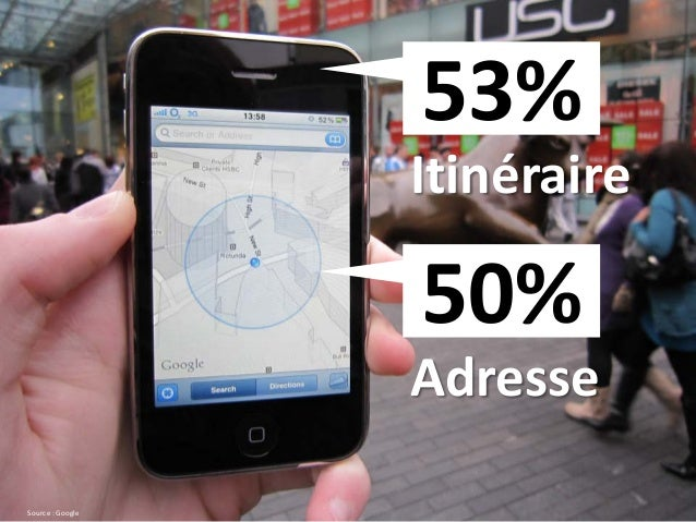 Itinéraire 53% Source : Google Adresse 50%